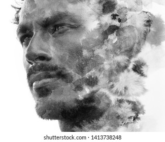 Paintography. A portrait blended with ink wash
