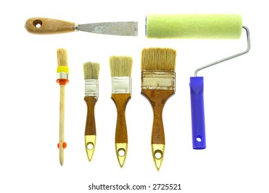 Paintroller, brushes and chisel