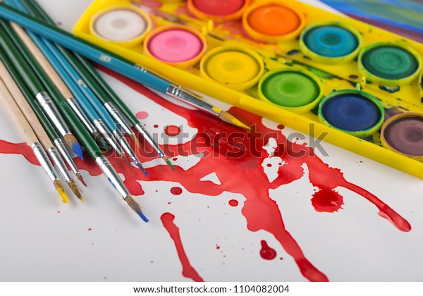Paints and brushes for drawing
