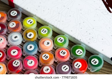Paints for drawing pictures by numbers