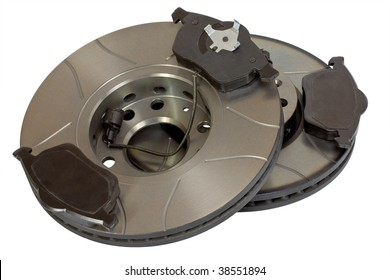Pair of air-cooled brake discs and pads with clipping path