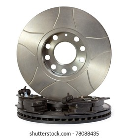 Pair of air-cooled brake discs and pads