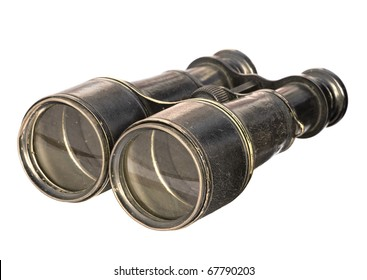 A pair of antique binoculars, isolated over white background. Clipping path is included.
