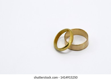 pair of antique gold rings isolate on white background.