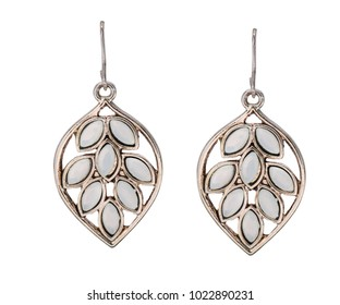 Pair of beautiful earrings on white background