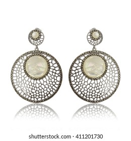 Pair of beautiful silver earrings with natural Pearls