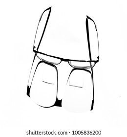 A pair of bi-focal optical glasses taken in isolation in high key against a white background
