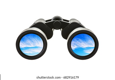 Pair of Binoculars with blue sky on a white background