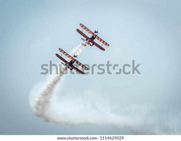 Pair Biplane Barnstormers Grace Skies Wingwalkers Stock