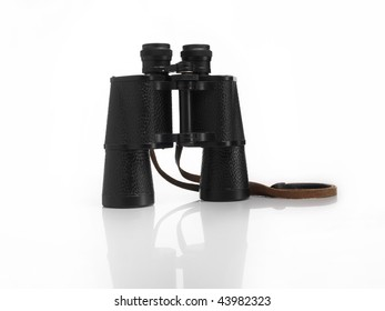 A pair of black binoculars isolated on white.