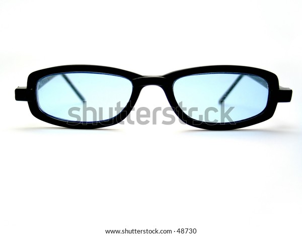 A pair of black horn-rimmed sunglasses. Lens with blue tint.