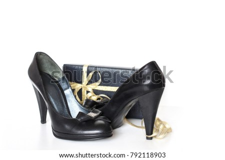 Pair Of Black Ladies Shoes And Gift Box Tied With Golden Ribbons Fashion Accessories Wallpaper