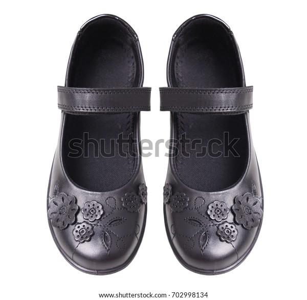 black leather uniform shoes
