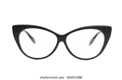 Pair of black plastic sight glasses isolated over the white background