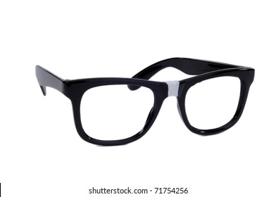 Pair Of Black Sixties Style Glasses With Tape On For A Geek Nerd Style