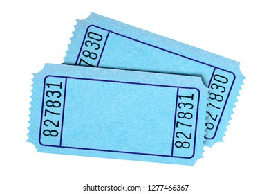 Pair blank blue tickets isolated on white