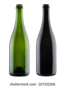 Pair of blank champagne bottles
