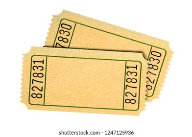 Pair blank old movie or raffle tickets isolated