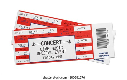 Pair of Blank Red Concert Performance Tickets Isolated on White Background.