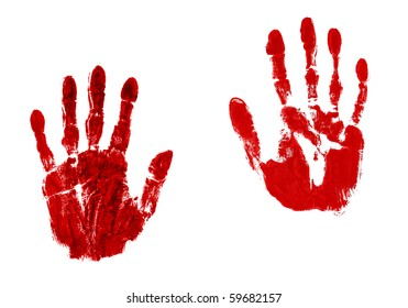 Pair of blood red hand prints isolated on white
