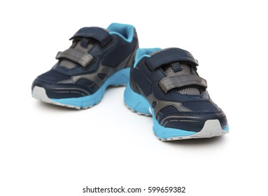 pair of blue and black sporty shoes for kid on white background