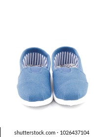 Pair of Blue Children's Shoes on a White Background