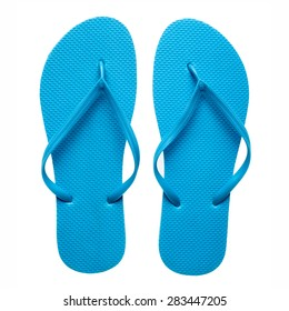 Pair of blue flip-flops isolated on a white background.