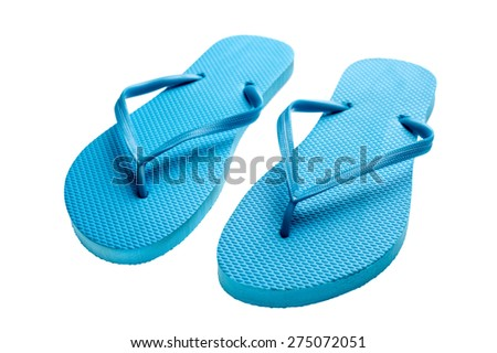 327fe3ce3309 Pair Blue Flipflops Isolated On White Stock Photo (Edit Now ...