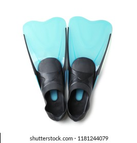 Pair of blue flippers on white background, top view