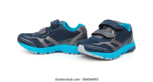 pair of blue and grey sporty shoes for kid on white background