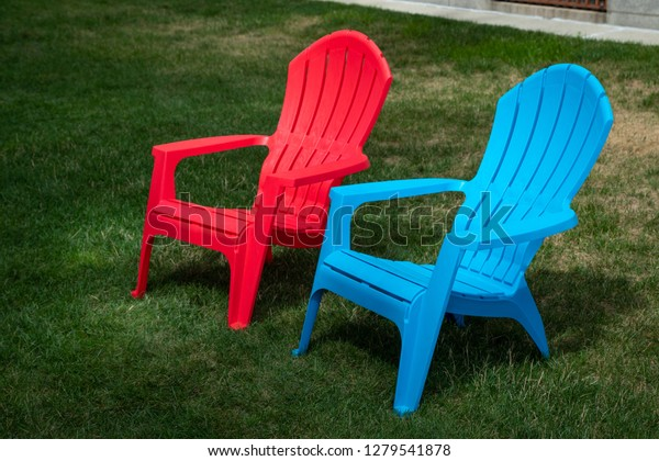 Pair Blue Red Plastic Lawn Chairs Stock Photo Edit Now 1279541878