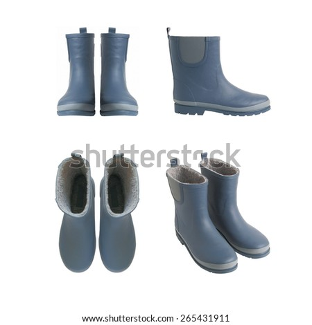 Pair Blue Rubber Boots Various Types Stock Photo (Edit Now