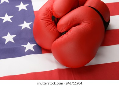 A Pair Of Boxing Gloves On American Flag