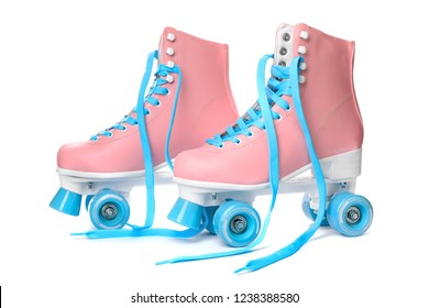 Pair of bright stylish roller skates on white background