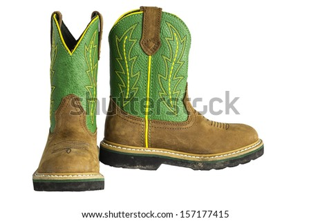 0a1bd0d0abb A pair of brown and green cowboy work boots isolated on a white background.