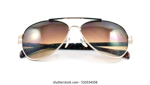Pair of brown retro aviator sunglasses - isolated