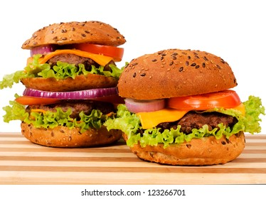 Pair of burgers isolated on white