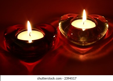 A pair of candles for Valentine's Day, weddings, or other events involving love