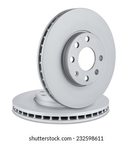 pair of car brake discs on white background