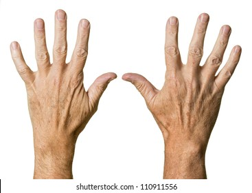 Pair of caucasian hands of senior middle aged male isolated against white