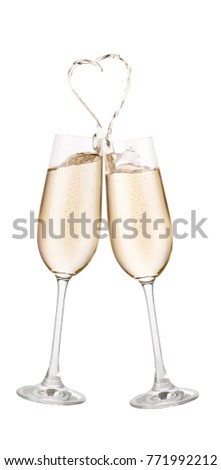 746041bfcc98 Pair of champagne glasses making toast isolated on white background. Splash  in the shape of heart - Image