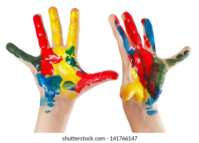 A pair of children's hands painted isolated on white background