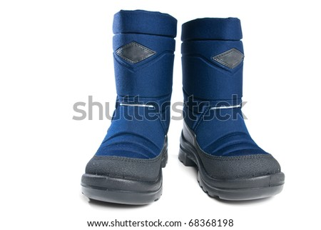 46c0ca253e36 Pair of child s winter boots with rubber sole. Isolated on white background.