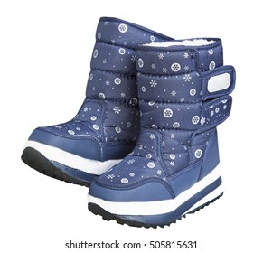 Pair of child's winter snow boots.Kid's warm blue shoes isolated on white.