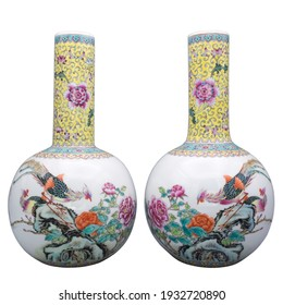 Pair of Chinese Famille Rose Porcelain Bottle Vases With Calligraphy Inscription