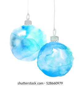 Pair of Christmas decorations watercolor illustration. Hand painted Xmas bubbles decor. Cute simple new year tree bulbs decoration design element. christmas bulbs hand made watercolor illustration.