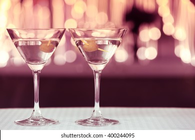 Pair of cocktail glasses.