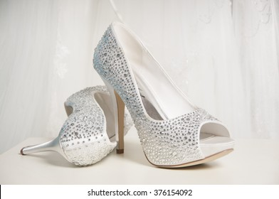 A Pair of crystal encrusted Wedding shoes