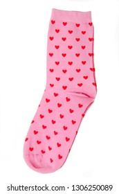 Pair of cute pink socks on an isolated white background
