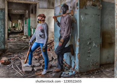 A pair of cyberpunk hooligans: a girl in respirator gas mask and steampunk goggles with a bat and a guy in skull mask with a sledgehammer, standing in the middle of the ruins of an old building.
